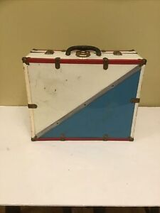 Vintage Roller Skate Carrying Case, Metal Latch Box  Red, White, & Blue