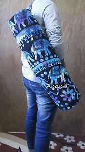 Indian Mandala Large Handmade Cotton Yoga Mat Carrier Bag with Shoulder Strap UK