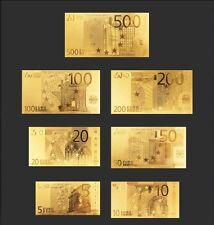 LOTTO BANCONOTE EURO 5-500 REPLICA ORO 24K