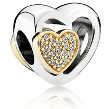 NEW AUTHENTIC PANDORA Silver & 14K Gold Joined Together Heart Charm - 791806CZ