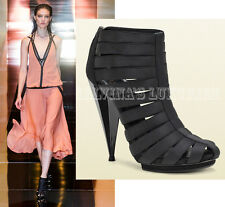 $950 GUCCI BOOTS ISADORA ELASTIC GLADIATOR BOOTIES SHOES CONE HIGH HEEL 38 8