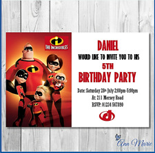10 PERSONALISED INCREDIBLES BIRTHDAY INVITATIONS PARTY INVITES ANY AGE ENVELOPE