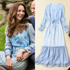 Kate Middleton Anniversary Blue Floral Wrap Dress Maxi Long Ruffle Sleeve Women