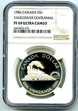 1986 $1 CANADA SILVER DOLLAR NGC PF69 UCAM VANCOUVER CENTENNIAL - RARE