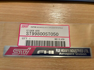 Subaru ST99800ST050 Impreza strut brace STi FHI New OEM Decal Genuine
