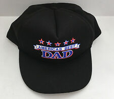 vintage snapback hat black with Americas best Dad graphics front red white blue