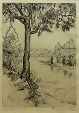 "Evelynne Mess ""Along White River""  8"" x 6"" Etching; Signed"