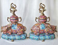"Big Rare Pair of Heavy Chinese Cloisonne Elephant Urns with Stands  (18.3"" Tall)"