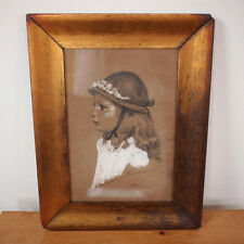 Vintage 1940 Young Girl Harry Worthman Pastel Signed Drawing Copper Gilt Frame