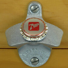 7UP Seven Up BOTTLE CAP Starr X Wall Mount Stationary Bottle Opener, Metal NEW!