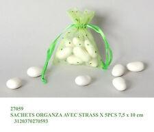 Set 5 sacchetti tulle organza verde con strass con chiusura nastrino in raso