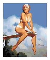 Pin Up Girl on Diving Board DIGITAL Counted Cross-Stitch Pattern Needlepoint