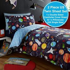 PLANETS UK SINGLE / US TWIN UNFILLED DUVET COVER & PILLOWCASE SET KIDS NEW