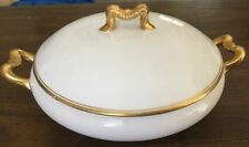 D & C France  White Gold Covered Round Serving Bowl Casserole Dish