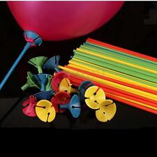 100Pcs Plastic Balloon Holder Multicolor Cup Sticks Wedding Party Decoration