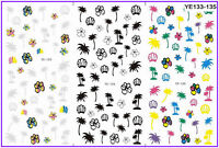 Nail Art Water Decals Transfers Stickers NEON Summer Palm Trees Beach Shells