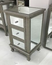 Moc Croc Embossed Mirrored 3 Drawer Bedside Table Cabinet Chest Of Drawers