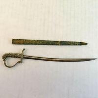 """Vintage German 8"""" Sabre Sword Letter Opener with Original Sheath"""