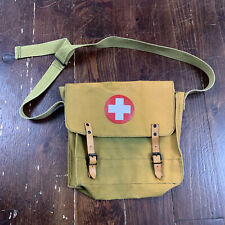 New listing Vintage Military First Aid Canvas Leather Bag Faded Yellow/Green Shoulder Strap