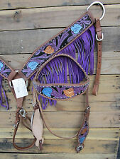 WESTERN HEADSTALL BREASTCOLLAR SET SHOW TRAIL PURPLE FRINGE HORSE LEATHER BRIDLE