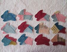 AA47 12 Iron On Sew On Appliques Vintage Quilt Bunny Rabbits Pink Blue