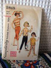 60s vintage Simplicity Little girls pants & Top sewing pattern 2815 4/23 breast