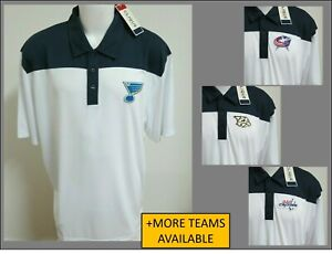 New Sz S-L White/Navy Blue Nhl Mens Polyester #43B Golf Polo Shirt