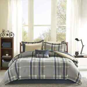 Twin XL Full Queen Bed Bag Navy Blue Tan Beige Plaid 9 pc Comforter Sheet Set