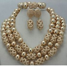 Gold Latest 2016 Design African Beads Bridal Wedding Jewelry Party Necklace Set