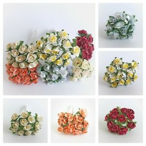 Mini Paper Rose Flowers With Wire Bendy Stem Fr Card Making Scrapbook Craft 1cm
