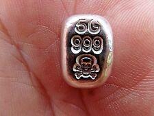 5 Gram Silver Bar by Atlantis Skull and Crossbones Hand Poured Gift Starter Bar