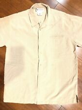 Columbia GRT Mens M Tan Plaid Button Up Dress Shirt or casual Short Sleeve