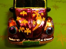 CHRISTOPHER RADKO PROTOTYPE HALLOWEEN FLORA BEATLE CAR - BOO GLASS ORNAMENT
