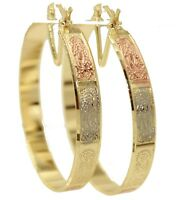 Virgen de Guadalupe Three Tone Hoops 18k Gold Plated - Guadalupe Hoop Earrings