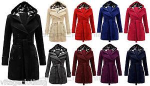 New Women Check Hood Duffle Style Hooded Fleece Comfortable Belted Long Coat