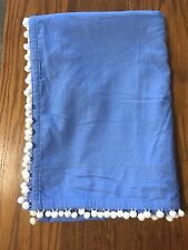 "PB Teen Single Panel Corduroy Pom Pom Curtain Blue 44""x63"""