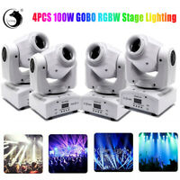 4PC RGBW Moving Head Stage Lighting LED Strobe Beam DMX512 Party Show Light 100W