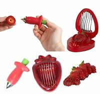 Strawberry Stem Gem Leaves Huller Remover Fruit Corer Slicer Cutter Split