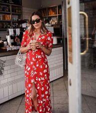 Rouge ZARA Long Imprimé Floral Robe Taille XL (UK 14/16)
