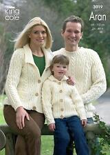 King Cole 3019 Knitting Pattern Family Sweaters & Cardigan in Merino Blend Aran