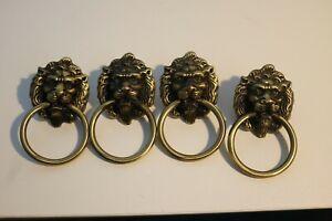 Set of 4 Lion Head Handles,vintage Brass/bronze Lion pull,Ring metal Drawer Knob