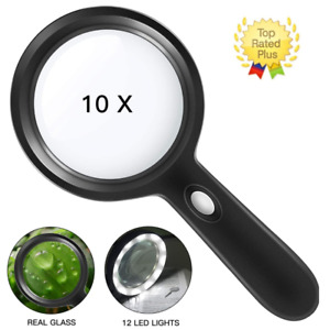Magnifying REAL GLASS10X Magnifier handheld rectangular read coin stamp LargePDO