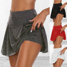 Women Athletic Pleated Tennis Underwear Sports Skirts with Shorts Mini Skirts US