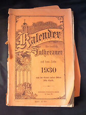 American Calendar for English Lutheran on the year 1930 pamphlet German/English