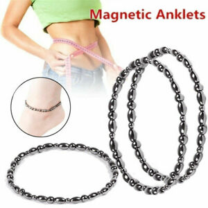 Black Magnetic Round Bead Hematite Bracelet Anklet Pain Relief Therapy Arthritis