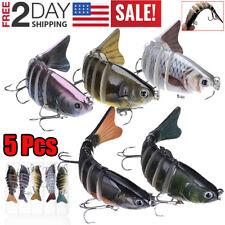 5pcs Bass Fishing Lure Swimbait Fish Bait Set Lot 10Cm Multi Jointed 7 Segment