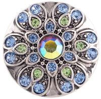 Blue Green Rhinestone Flower 20mm Snap Charm For Ginger Snaps Magnolia Vine