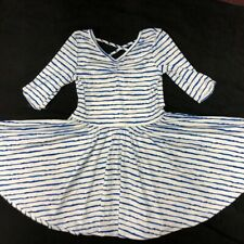 NWOT Dot Dot Smile Ballerina Twirly Dress  Girls Printed  White Blue Waves