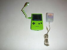 Nintendo Game Boy Color Handheld Game Console Lime Green CGB-001 w/Worm Light