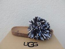 UGG BLACK/ WHITE CINDI YARN FRINGE CORK SOLE SLIDE SANDALS, US 12/ EUR 43 ~NIB
